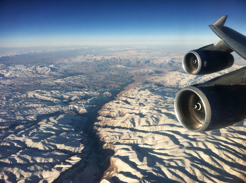 View over Hindu Kush in Afghanistan on the way to Delhi